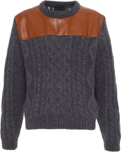 Leather Panel Wool Sweater