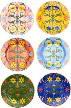 Set-Of-Six Assorted Porcelain Dessert Plates
