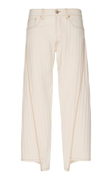 Cropped Pleated Wide-Leg Jeans