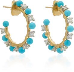 18K Gold, Diamond And Turquoise Hoop Earrings
