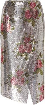 Wrap-Effect Floral-Print Chainmail Midi Skirt