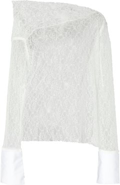 Off-The-Shoulder White Poplin And Lace Blouse