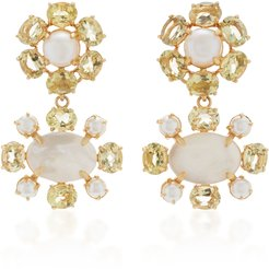 Earrings Set with Lemon Quartz, White Pearls and Mother of Pea