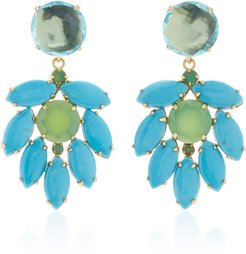 Earring Set with Blue Quartz #15 Round Turquoise Marquis and C