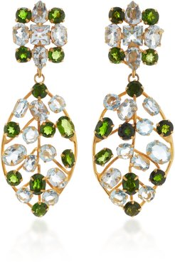 Earring Set with Blue Quartz and Chrome Diopside