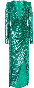Sequin-Embellished Crepe Gown