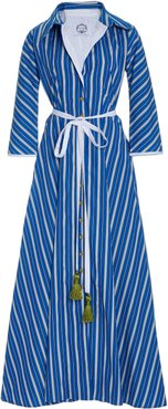 Ben Youssef Striped Belted Cotton Dress