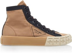 Two-Tone Gabardine High Top Sneakers