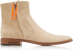 Zip-Detailed Suede Ankle Boots