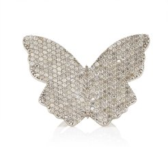 Large Butterfly Sterling Silver Diamond Ring