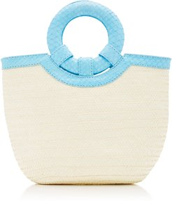 Watersnake Trimmed Straw Tote