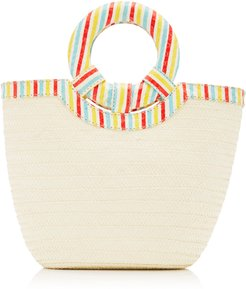 Striped Watersnake Trimmed Straw Tote