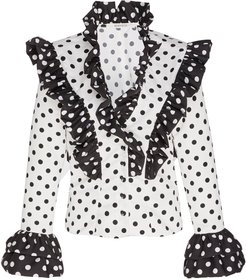 Ruffled Polka-Dot Crepe Top
