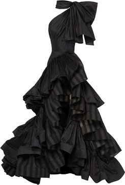 Professed Bow-Embellished Ruffled Striped Linen Gown