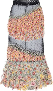 Dot To Marigold Floral-Appliquéd Organza Midi Skirt