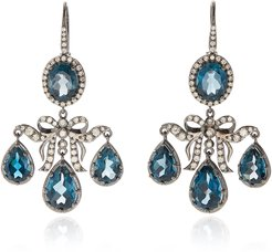 Medora Girandole 14K White Gold, Topaz And Diamond Earrin
