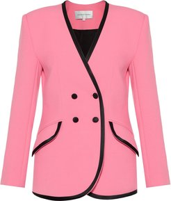 Double-Breasted Collarless Cady Blazer