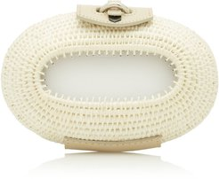 Lindi Leather-Trimmed Straw Clutch