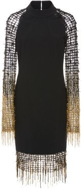 Stretch Crepe Cocktail With Grid Sequin And Ombre Fring