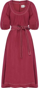 Rebellion Belted and Linen and Silk-Blend Midi Dress