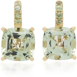 Green Quartz and Sapphire 14K Yellow Gold Drop Earrings