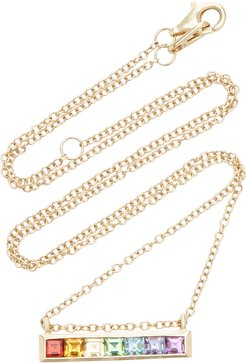 Multi-Stone 14K Yellow Gold Bar Necklace