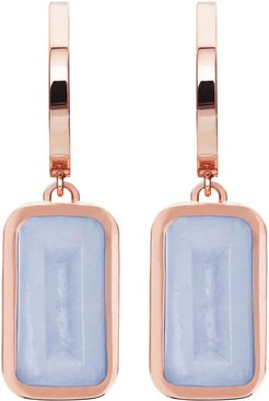 Pfefferminz Chalcedony 14K Rose Gold Hoop Earrings