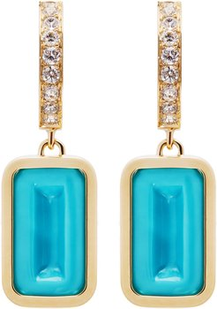 Pfefferminz Turquoise, Diamond 14K Yellow Gold Hoop Earrin