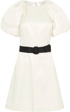 Rebecca Vallance Winona Belted Satin Puff-Sleeve Mini Dress