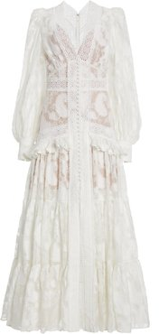 Acler Suffield Ruffled Lace Long Sleeve Maxi Dress