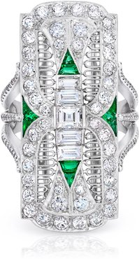 Diamond, Emerald Platinum Filigree Dinner Ring
