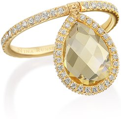 Medium 18k Yellow-Gold, Citrine and Diamond Flip Ring