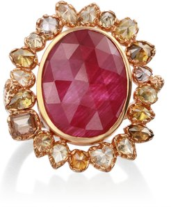 18k Rose-Gold, Ruby and Yellow Diamond Cocktail Ring