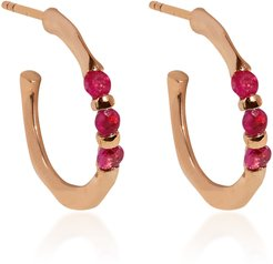 Floating-Stone 18k Rose-Gold and Ruby Hoops