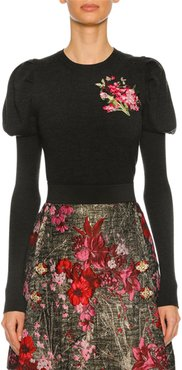 Floral-Embroidered Puff-Sleeve Sweater, Dark Gray