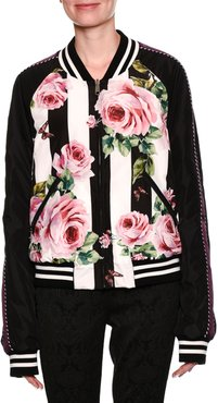 Striped Rose-Print Reversible Bomber Jacket