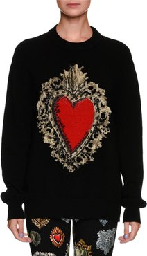 Long-Sleeve Oversized Wool-Blend Sweater w/ Heart Print