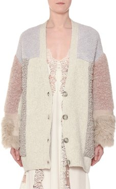 V-Neck Button-Front Mixed-Media Cardigan