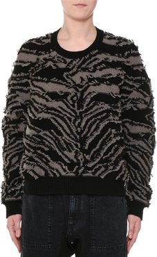 Crewneck Clipped Fringe Chunky Pullover Sweater