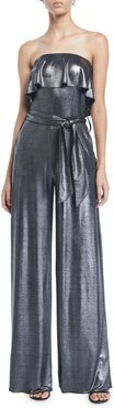 Julie Ruffle Strapless Wide-Leg Metallic-Jersey Jumpsuit