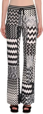 Patchwork Flared Pull-On Trousers