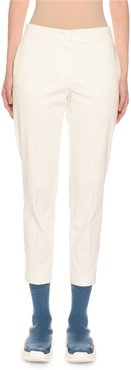 Cotton Crepe Slim Tapered-Leg Trousers