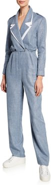 Katia Double-Collar Linen/Wool Jumpsuit