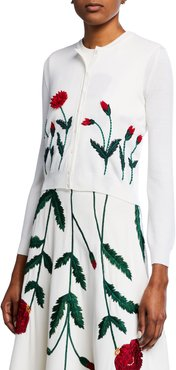 Poppy-Embroidered Cropped Cardigan