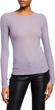 Cashmere Textured-Knit Crewneck Sweater