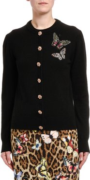 Cashmere Jewel-Button Butterfly Patch Cardigan