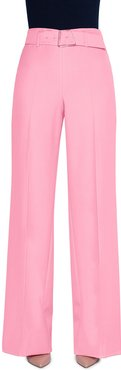 Floriane Crepe Belted Wide-Leg Pants with Geometric-Buckle