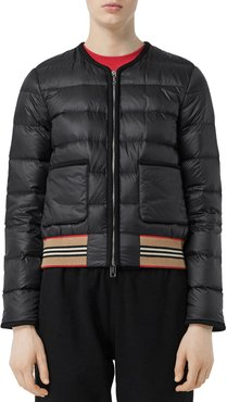 Bruntsfield Stripe-Hem Quilted Bomber Jacket