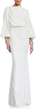 Beaded-Cuff Long-Sleeve Gown