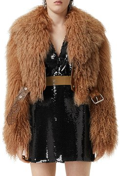 Arthington Mongolian Shearling Jacket with Python Print Belt